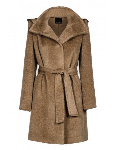 Płaszcz z alpaki z kapturem