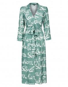 Kopertowa sukienka w napisy
