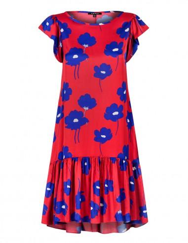 Sukienka w kwiaty zakończona zwiewną...