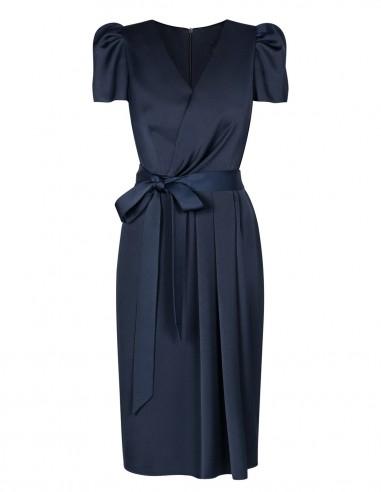Wizytowa sukienka z krótkim bufiastym...